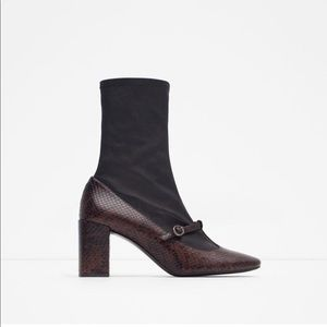Zara Mary Jane Sock Ankle boots